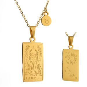 NEW 18K Gold Plated Taurus Sign Zodiac Tarot Card Square Pendant Necklace